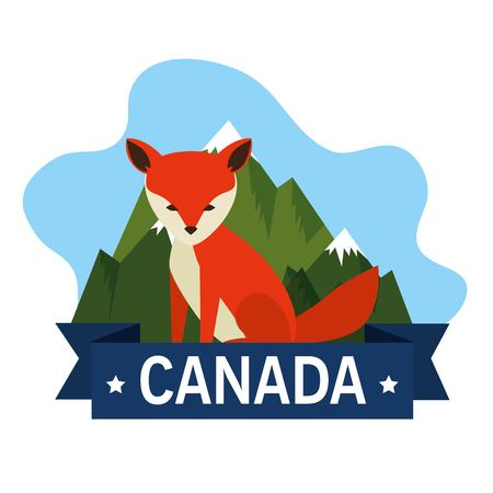 Canadian fox scene icon vector illustration design.  イラスト・ベクター素材