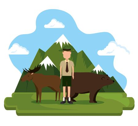 Grizzly bear and moose Canadian scene vector illustration design.