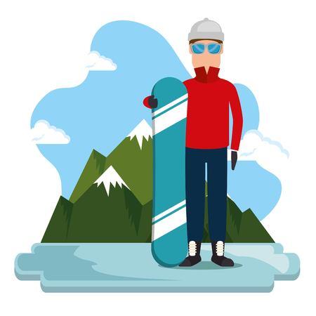 Snowboard athlete extreme scene vector illustration design.