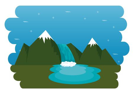 Mountains with snow canadian scene vector illustration design