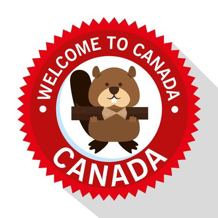 Beaver canadian animal scene vector illustration design