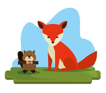 Canadian fox scene icon vector illustration design 스톡 콘텐츠 - 100732340