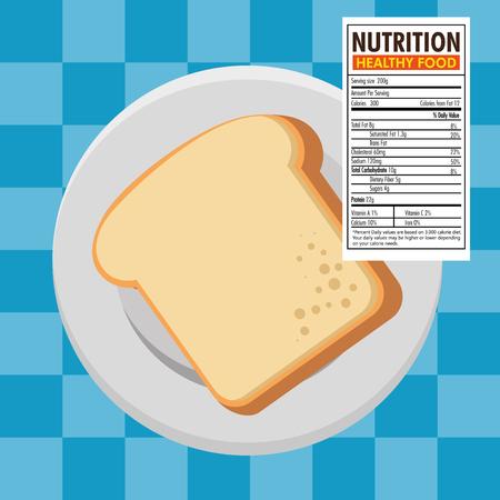 Toast bread slice with nutrition facts vector illustration design Illustration