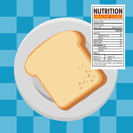 Toast bread slice with nutrition facts vector illustration design Ilustração