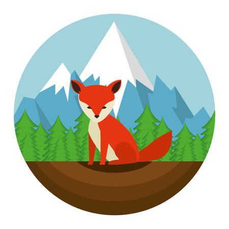 Canadian fox scene icon vector illustration design