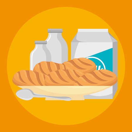Pastry bakery nutritive food vector illustration design Illustration