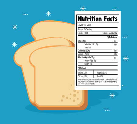 Toast bread slice with nutrition facts vector illustration design Illustration