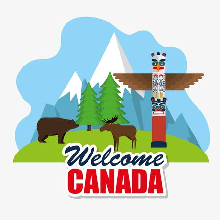 Grizzly bear and moose canadian scene vector illustration design