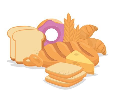 Pastry bakery nutritive food vector illustration design Illustration