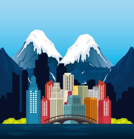 Canadian landscape scene and cityscape vector illustration design Иллюстрация