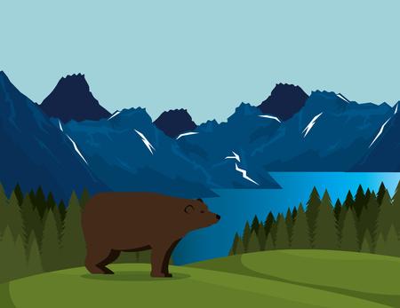 Canadian landscape with grizzly bear scene vector illustration design Иллюстрация