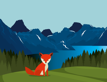 canadian landscape with fox scene vector illustration design Çizim