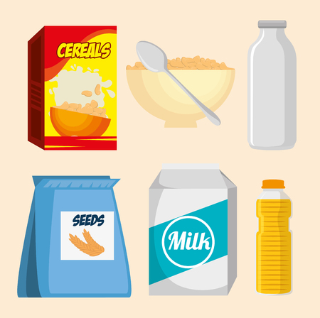 Group of nutritive food icons vector illustration design Illustration