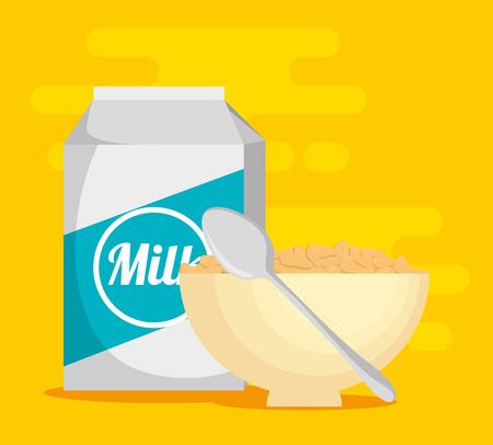 Milk with cereal healthy food vector illustration design Foto de archivo - 100734771