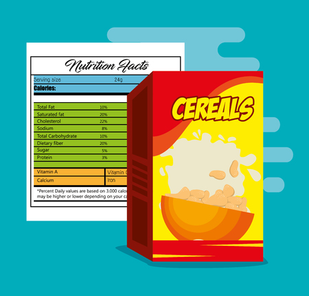 Cereals box with nutrition bag vector illustration design