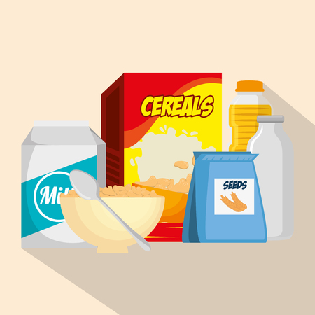 Group of nutritive food icons vector illustration design Ilustração