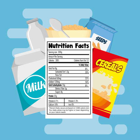 Group of nutritive food with nutrition facts vector illustration design