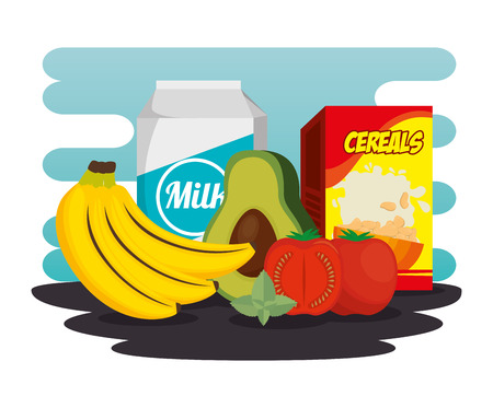 Group of nutritive food icons vector illustration design Ilustracja