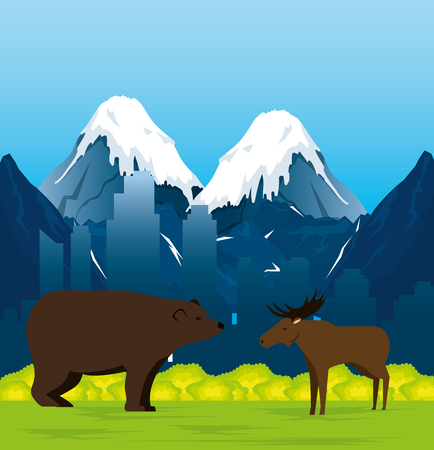Canadian landscape with moose and grizzly bear scene vector illustration