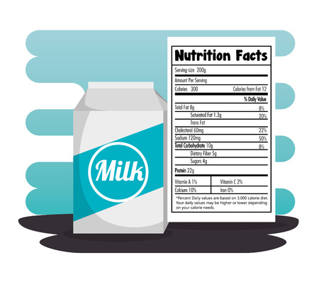 Milk box with nutrition facts vector illustration design