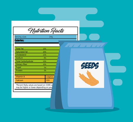 Seeds bag with nutrition facts vector illustration design