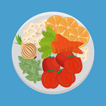 Dish with fresh vegetables vector illustration design