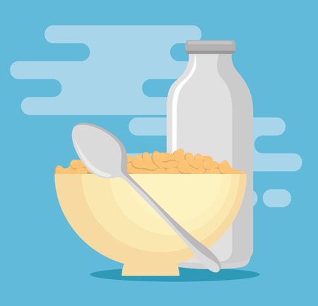 Milk with cereal healthy food vector illustration design
