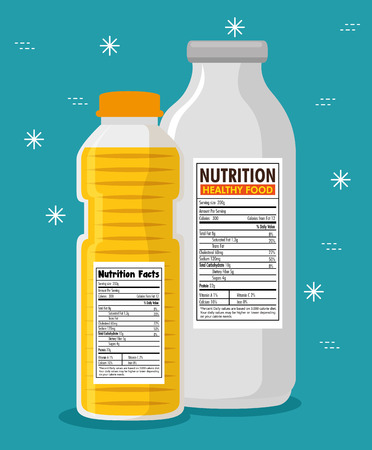 Oil and milk bottles with nutrition facts vector illustration design