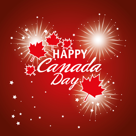 Happy canada day celebration poster vector illustration design