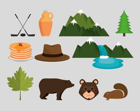 Canadian culture set icons vector illustration design  イラスト・ベクター素材