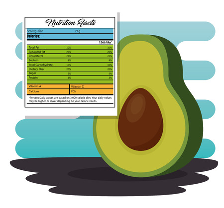 Avocado with nutrition facts vector illustration design