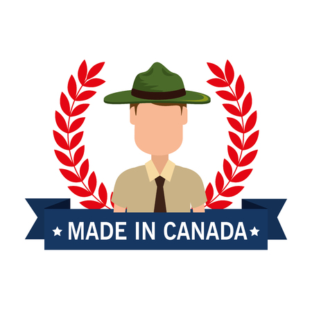 Made in Canada Seal mit Ranger Wald Vektor-Illustration Design