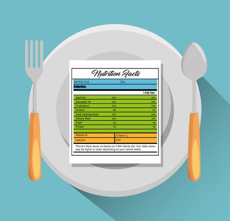 Dish and cutlery with nutrition facts vector illustration design