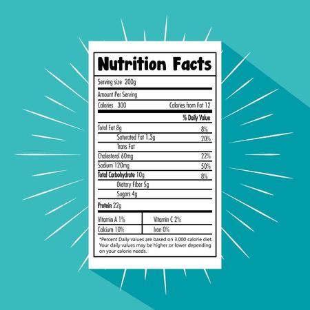Papel con información nutricional, diseño de ilustraciones vectoriales