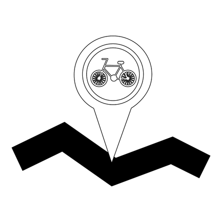way road with location pin and bicycle icon vector illustration design