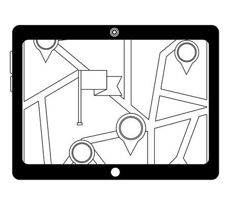 tablet with gps application and flag icon vector illustration design