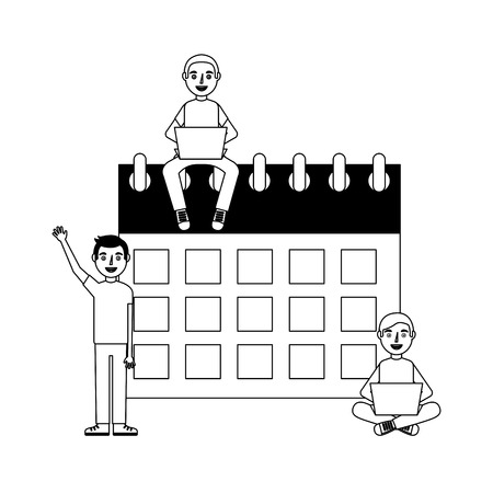 Calendar reminder with people isolated icon vector illustration design