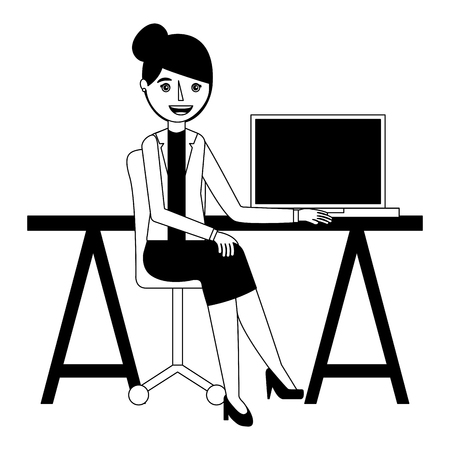 young woman sitting at the desk with laptop vector illustration Illustration