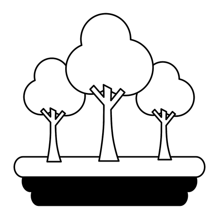 trees forest scene icon vector illustration design