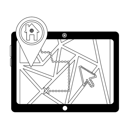 tablet with gps application and pin location house vector illustration design