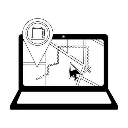 laptop with gps application and pin location cup coffee vector illustration design
