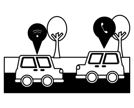 cars vehicles whit pointers location vector illustration design Illusztráció