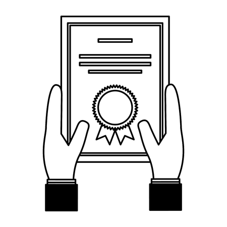 hands with school diploma icon vector illustration design Illustration