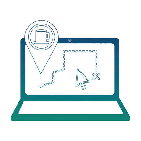 Laptop with gps application and cup of coffee vector illustration design