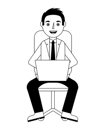 elegant businessman with laptop in chair avatar character vector illustration design