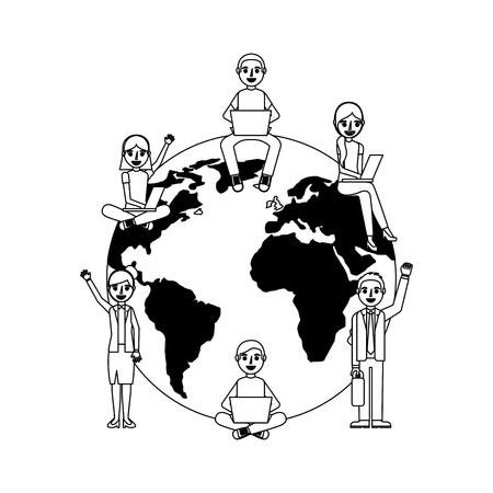 group of students sitting on the world vector illustration design Illustration