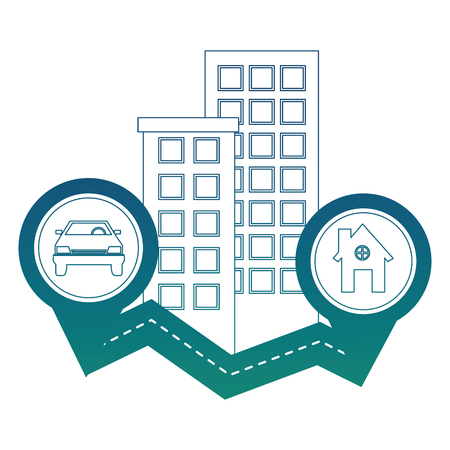 way road with buildings and important places vector illustration design