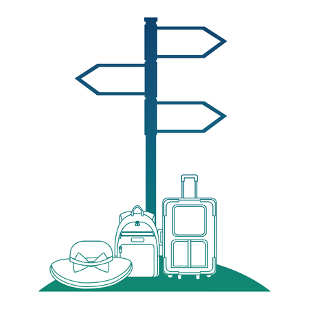 arrows with bags and hat travel icon vector illustration design