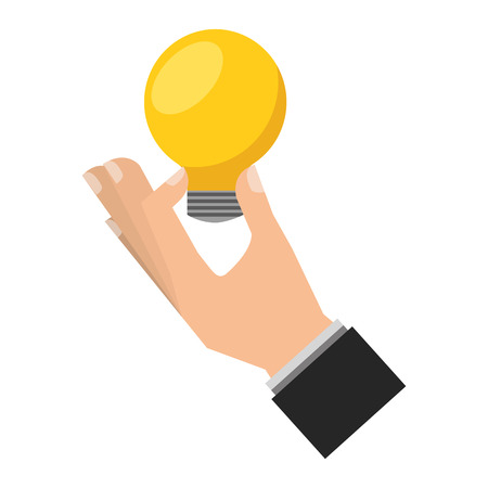 hand with bulb light idea isolated icon vector illustration design
