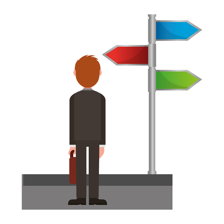young man with signage of arrows on stick vector illustration design